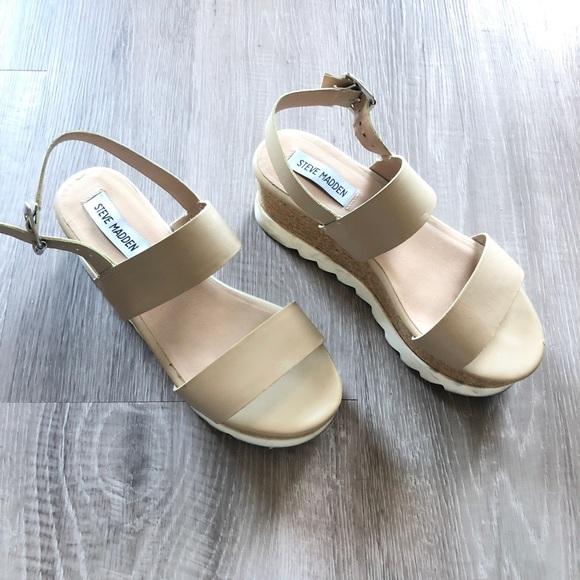 Steve Madden Krista Nude Leather Platform Sandals